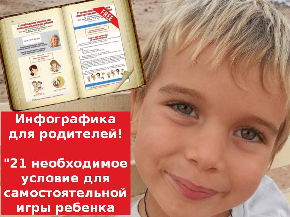 """Инфографика """"21 необходимое условие для самостоятельной игры ребенка"""""""